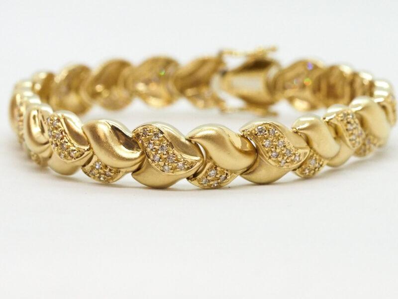 ヤフオク出品中K18メレダイヤモンド総1.00ctゴールドブレスレット19cm26.7gをご紹介!京都の質屋【質】フクユウ